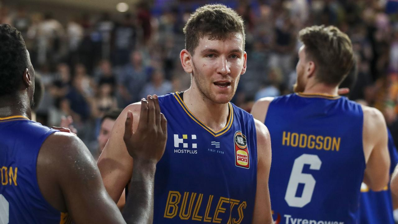 Will Magnay of the Bullets in action during the Round 17 NBL match between the Brisbane Bullets and the south East Melbourne Phoenix at Nissan Arena in Brisbane, Thursday, January 23, 2020. (AAP Image/Glenn Hunt) NO ARCHIVING, EDITORIAL USE ONLY