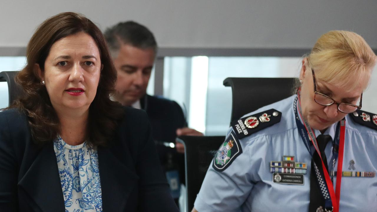Premier Annastacia Palaszczuk at a meeting of the Queensland Disaster Management Committee yesterday. Picture: Annette Dew
