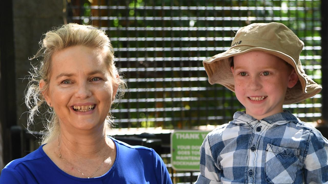 Councillor Cherie Rutherford and Xavier Harth at the Rockhampton Zoo