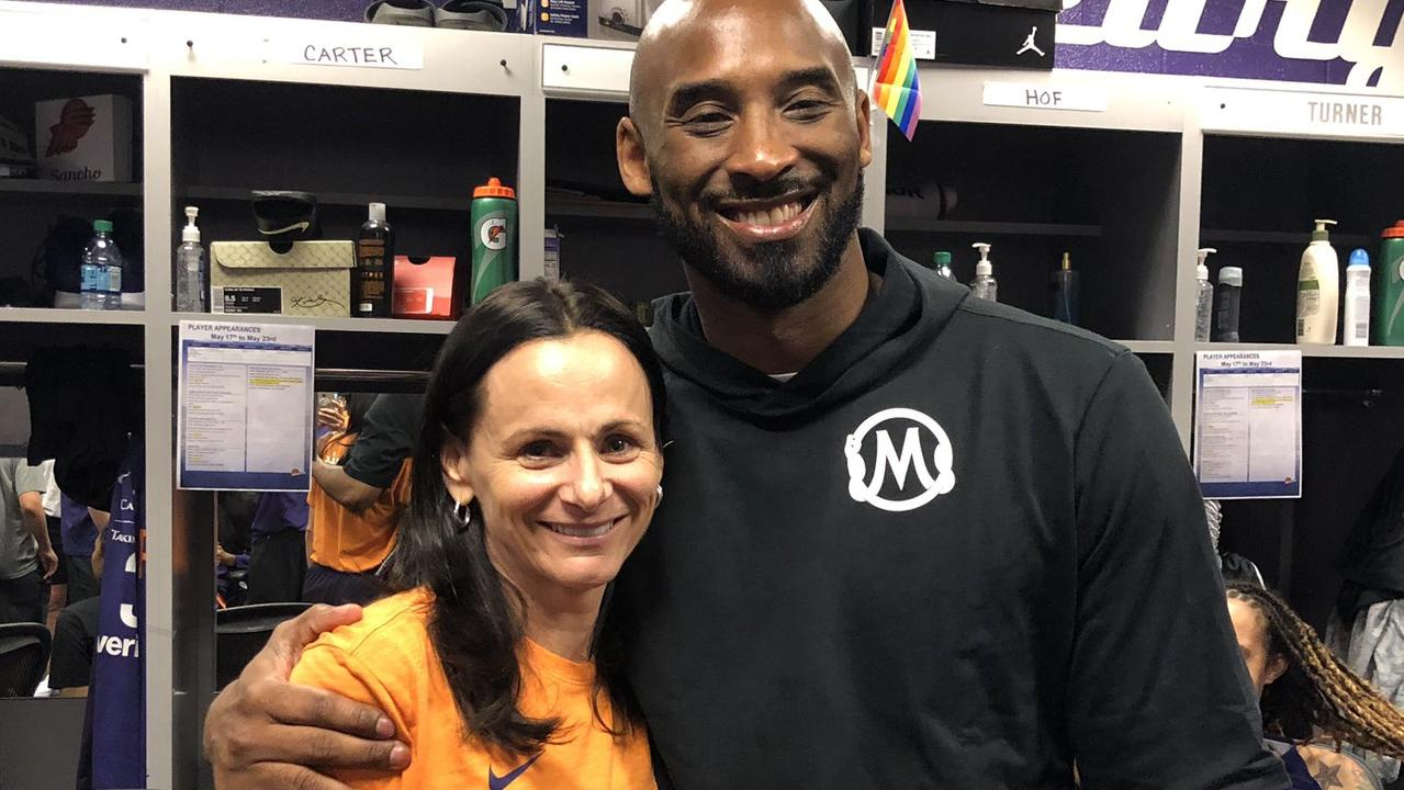 Opals coach Sandy Brondello and Kobe Bryant.