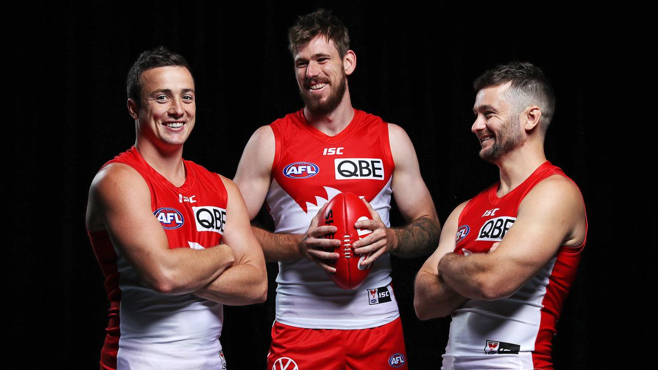 Sydney Swans recruits Lewis Taylor, Kaiden Brand and Sam Gray. Picture: Tim Hunter