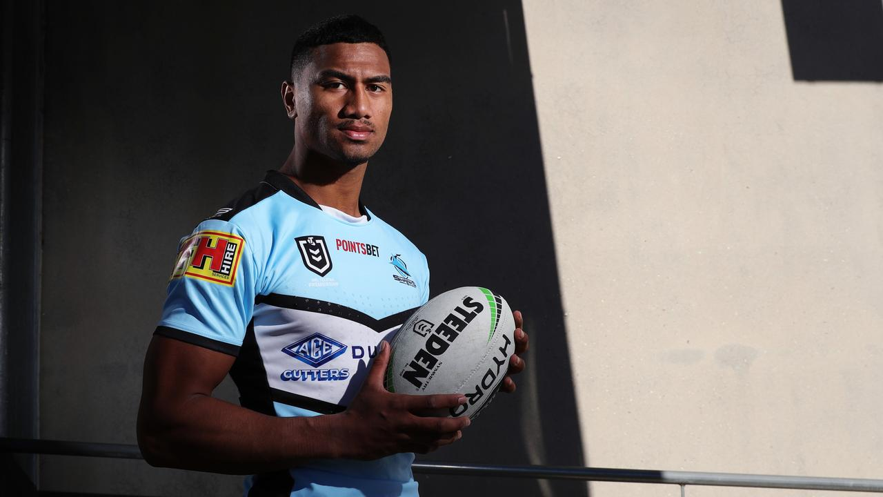 Cronulla's Ronaldo Mulitalo will join established Maroons stars for this year's camp. Picture: Brett Costello