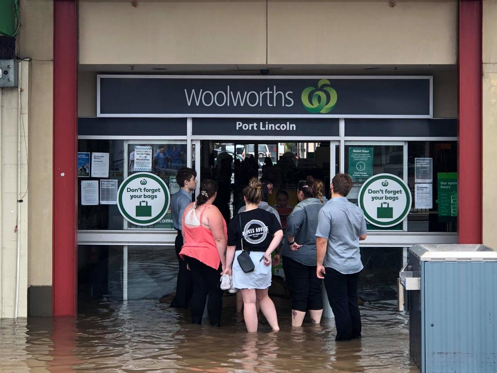 Port Lincoln Woolies – the flash flood people. Picture: Robert Lang