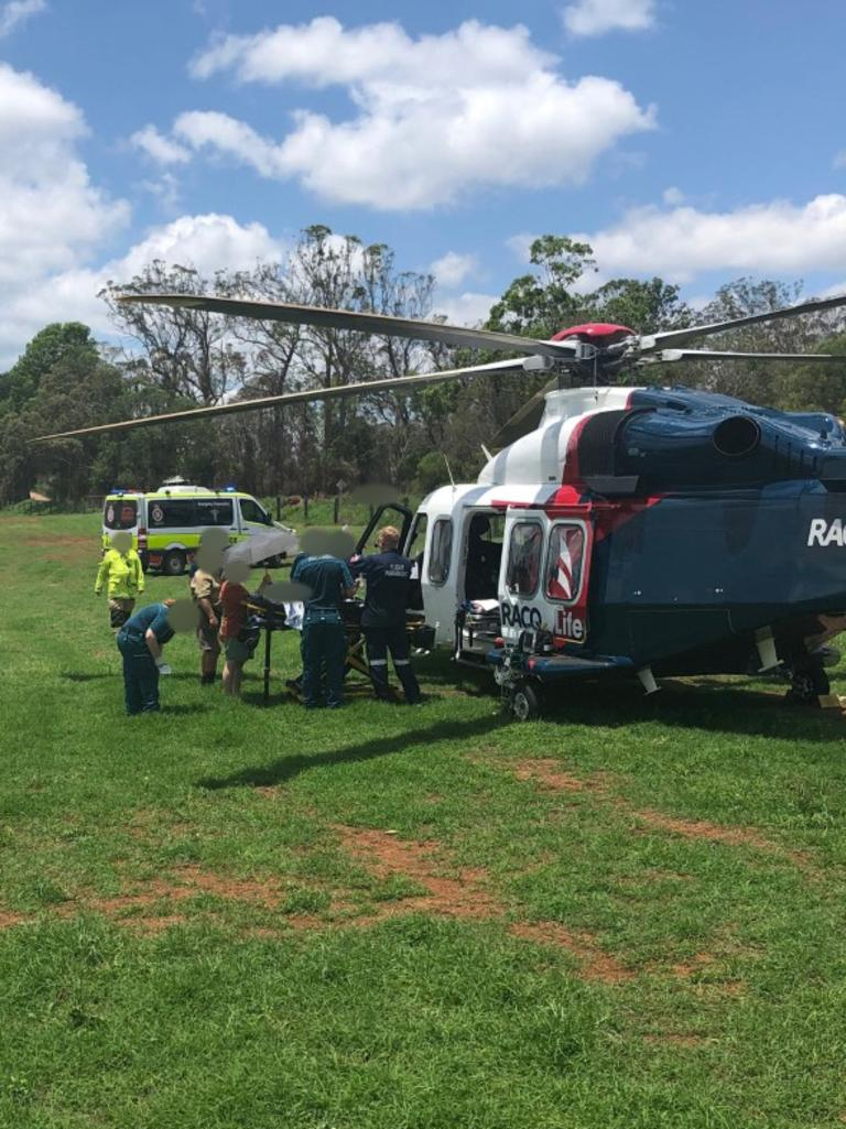 A young girl was flown to hospital with burns to her arms and legs. Picture: supplied.