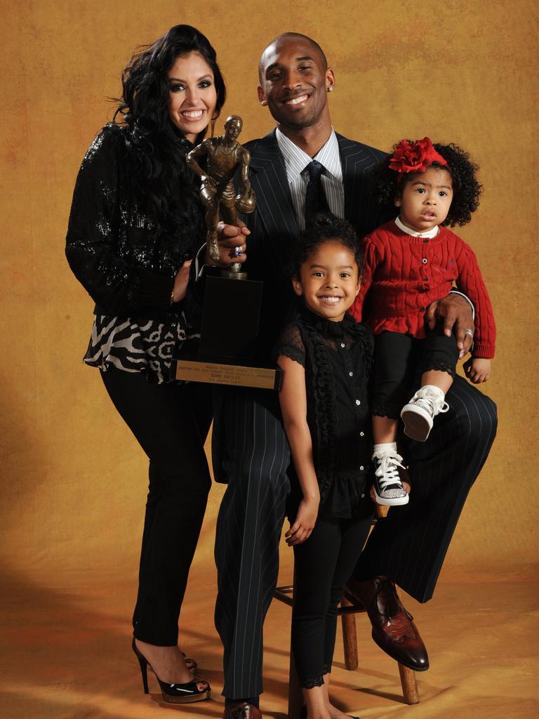 Kobe, Vanessa, Natalia and Gianna celebrate the 2007-08 NBA MVP award. Picture: Andrew D. Bernstein/NBAE via Getty Images