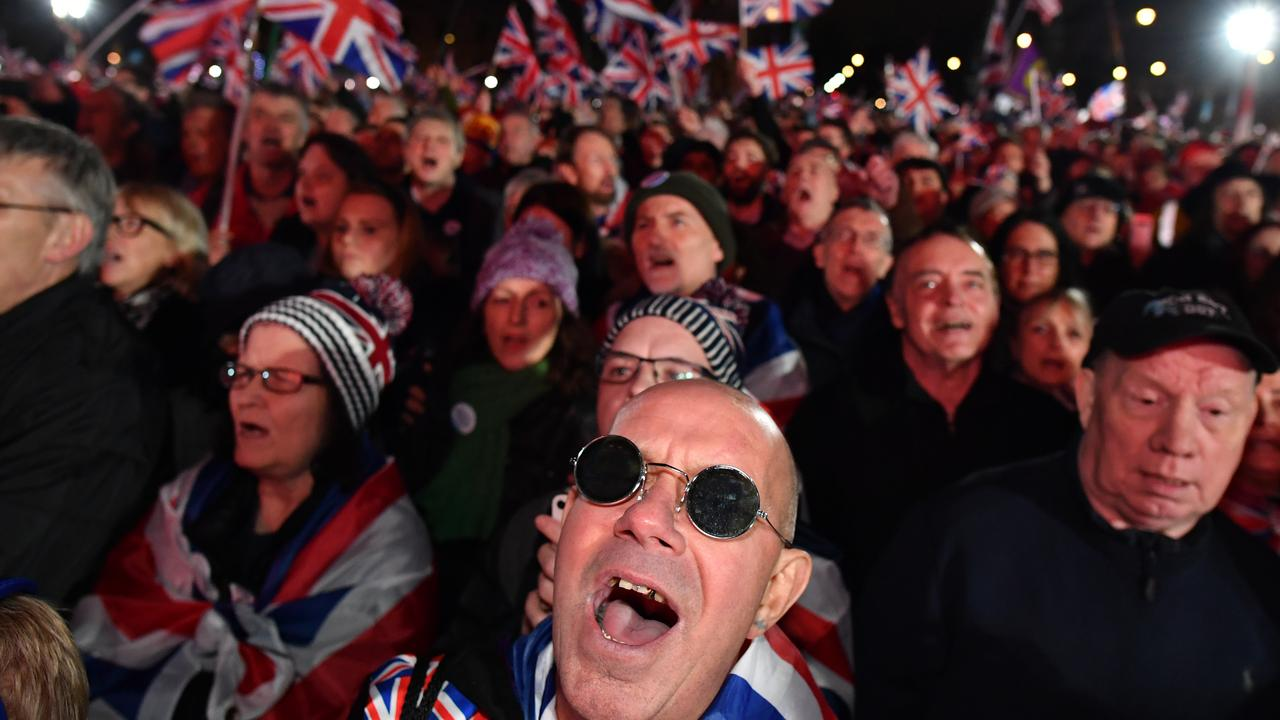 Pro Brexit supporters attend the Brexit Day Celebration Party hosted by Leave Means Leave at Parliament Square. Picture: Getty