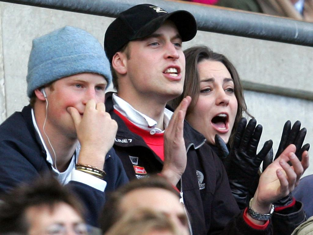 Prince William (C), Kate Middleton and Prince Harry watch a Six Nations rugby match in 2007. Picture: AP
