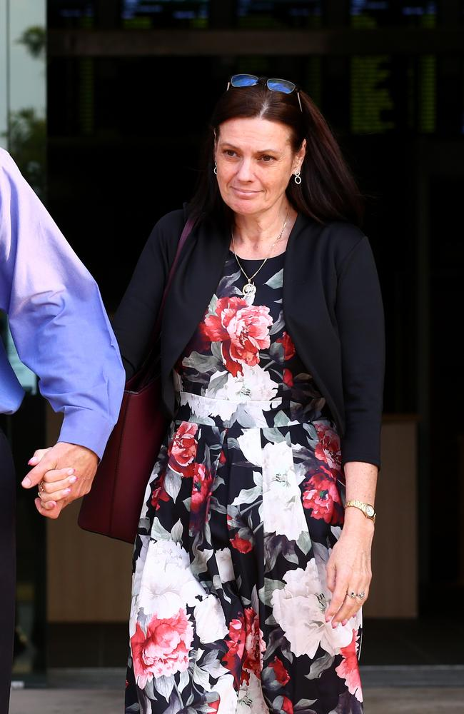 Tamborine Mountain State High Principal Tracey Brose leaves Southport Court after the first day of her defamation case. Picture: Adam Head