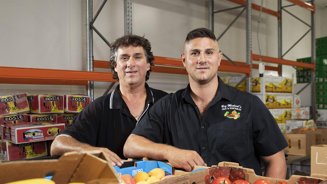Big Michael's Fruit and Vegetables director Peter Marinos and his father Michael have been left frustrated and out of pocket $160,000 by clients who have collapsed. Picture: AAP Image/Attila Csaszar