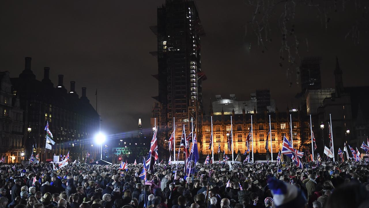 Brexit supporters pack out Parliament square in London. Picture: AP