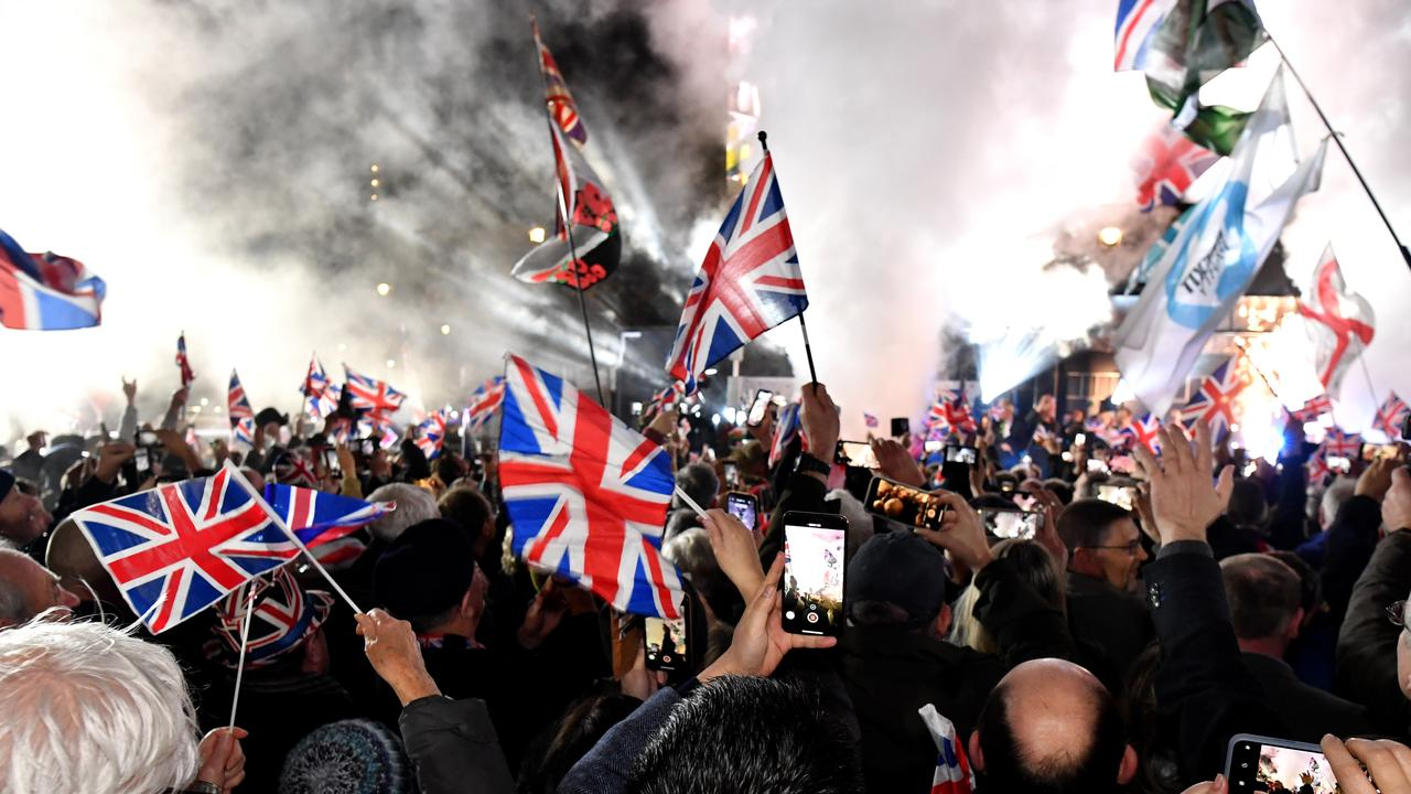 Pro Brexit supporters celebrates as the United Kingdom exits the EU during the Brexit Day Celebration Party hosted by Leave Means Leave at parliament Square. Picture: Getty