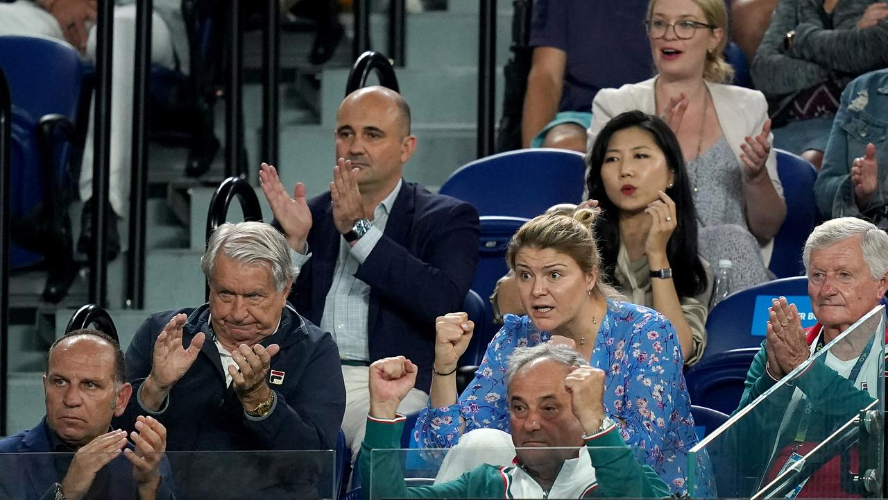 Sofia Kenin's father (bottom right) Alexander was animated for the entire match. Picture: AAP.