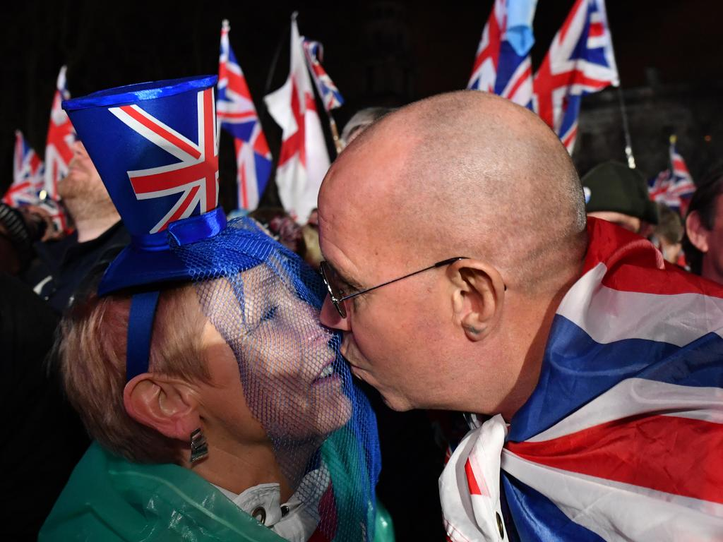 Pro Brexit supporters celebrate as the United Kingdom exits the EU during the Brexit Day Celebration Party hosted by Leave Means Leave at parliament Square. Picture: Getty