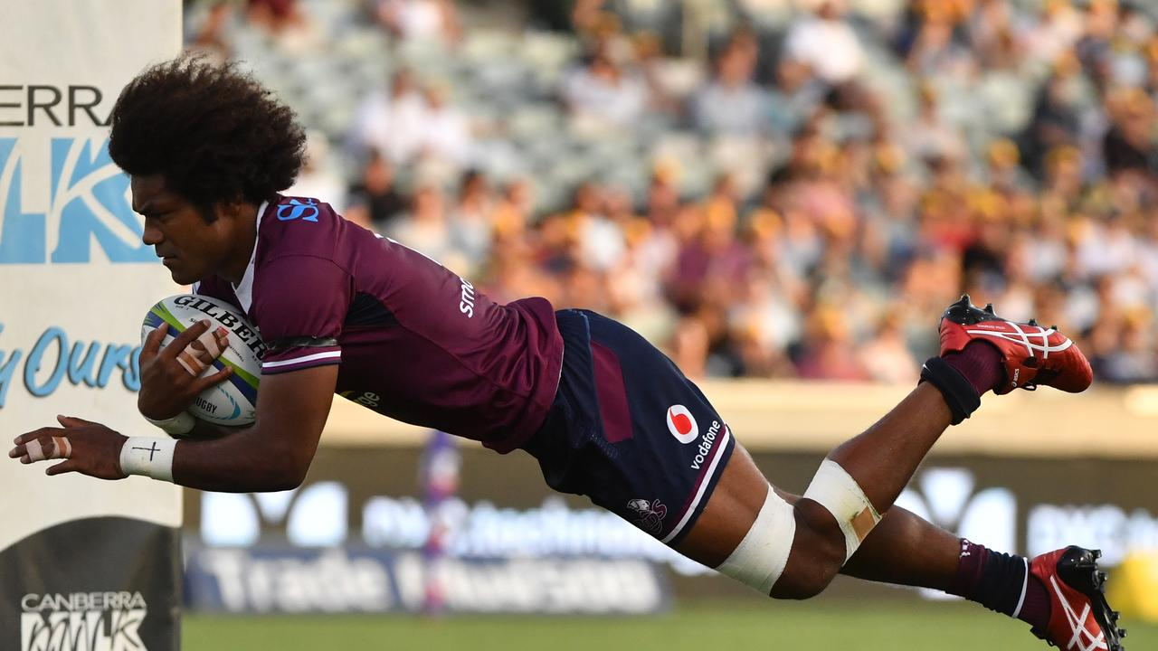 Henry Speight scoring the try that gave him the record. Picture: AAP/Mick Tsikas