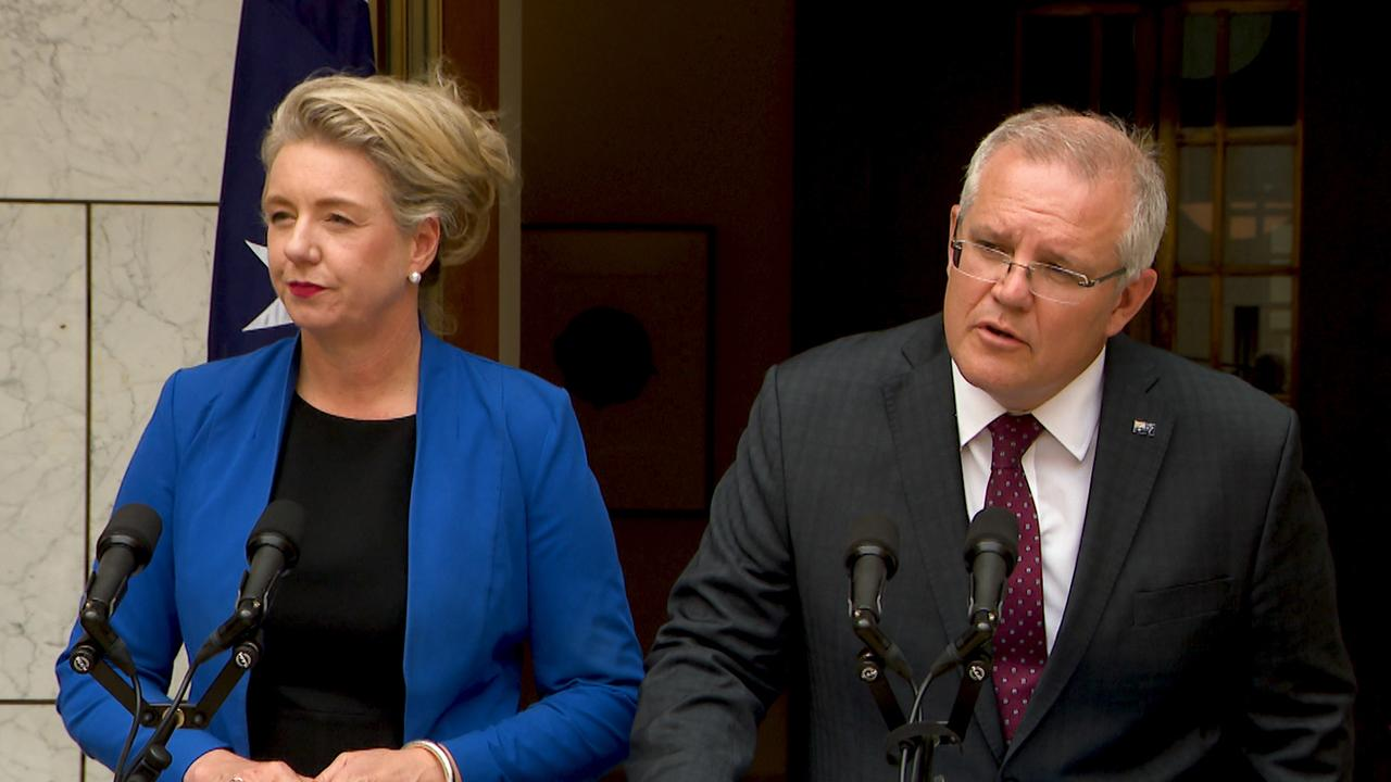 Bridget McKenzie and Prime Minister Scott Morrison. Picture: AAP Image/Marc Tewksbury