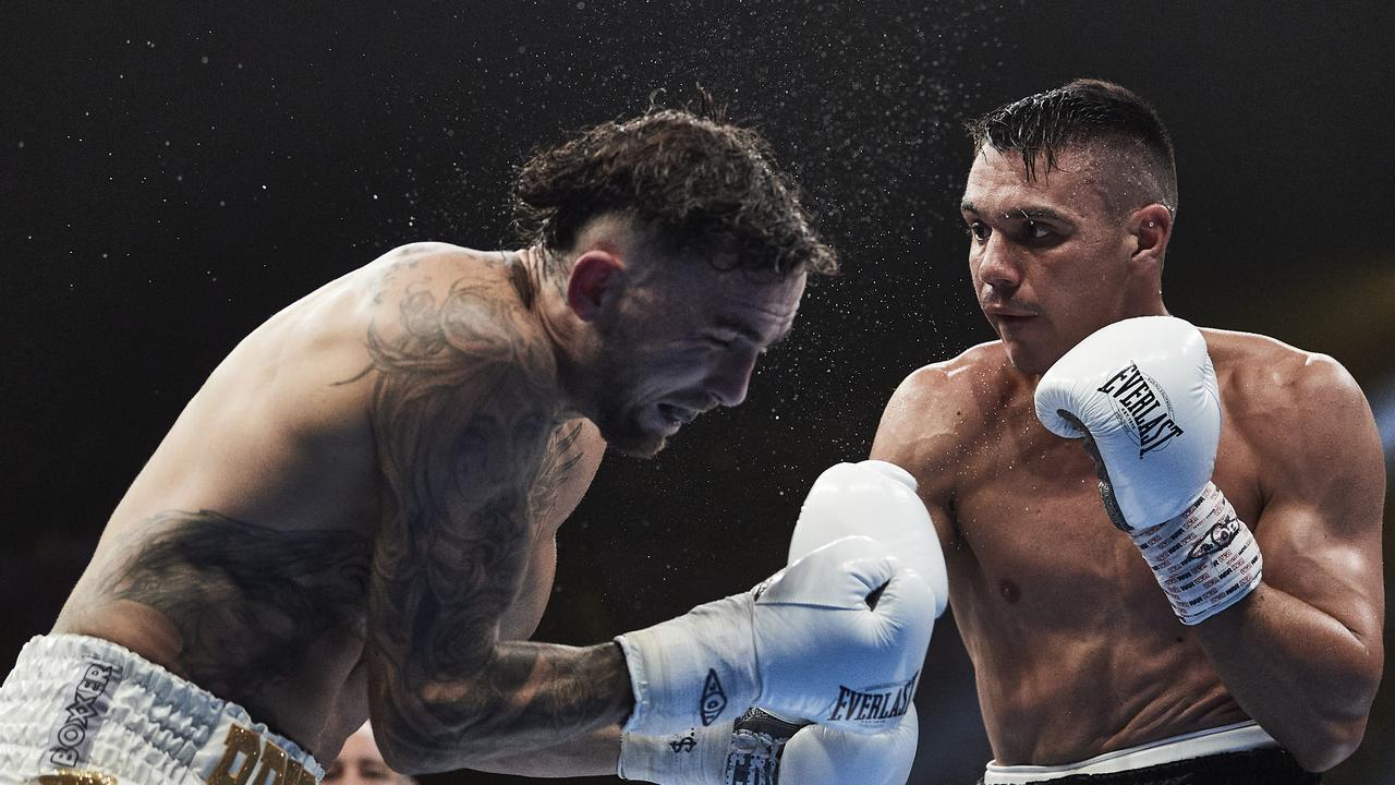Tim Tszyu lands a punch against Jack Brubaker in December. Picture: Brett Hemmings/Getty Images