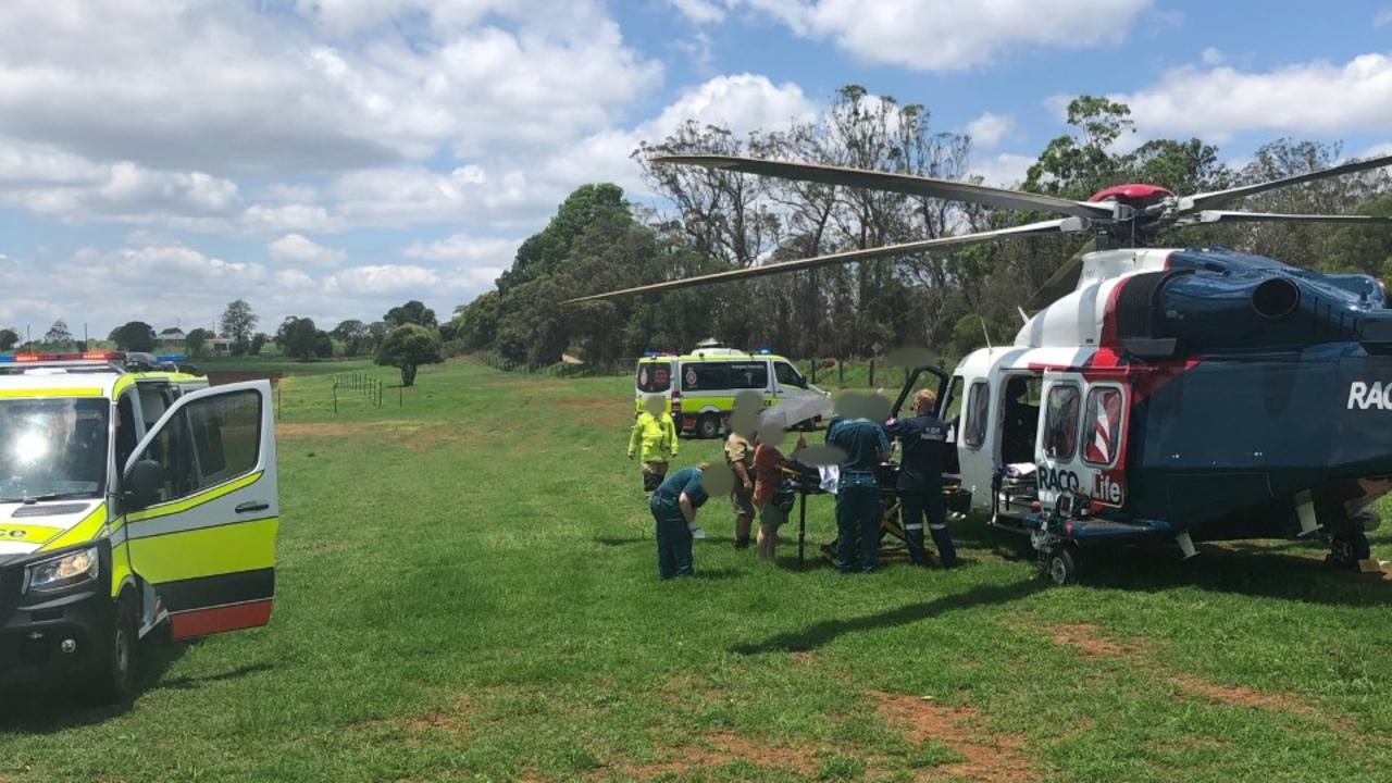 A toddler was airlifted to Queensland Children's Hospital yesterday after receiving burns to her legs, arms , and hands. Picture: LifeFlight