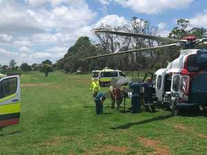 Toddler burned in grass fire flown to hospital