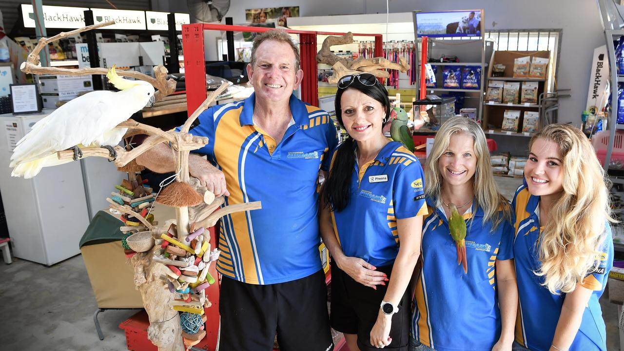 Caloundra Garden and Pet Supplies have been a columnist for the Caloundra Weekly for some time now, and they're celebrating 8 years as a business. Pictured, Will Waterford and staff Pheona Heslop, Kylie Smith and Tegan Ellenberger. Photo Patrick Woods / Sunshine Coast Daily.