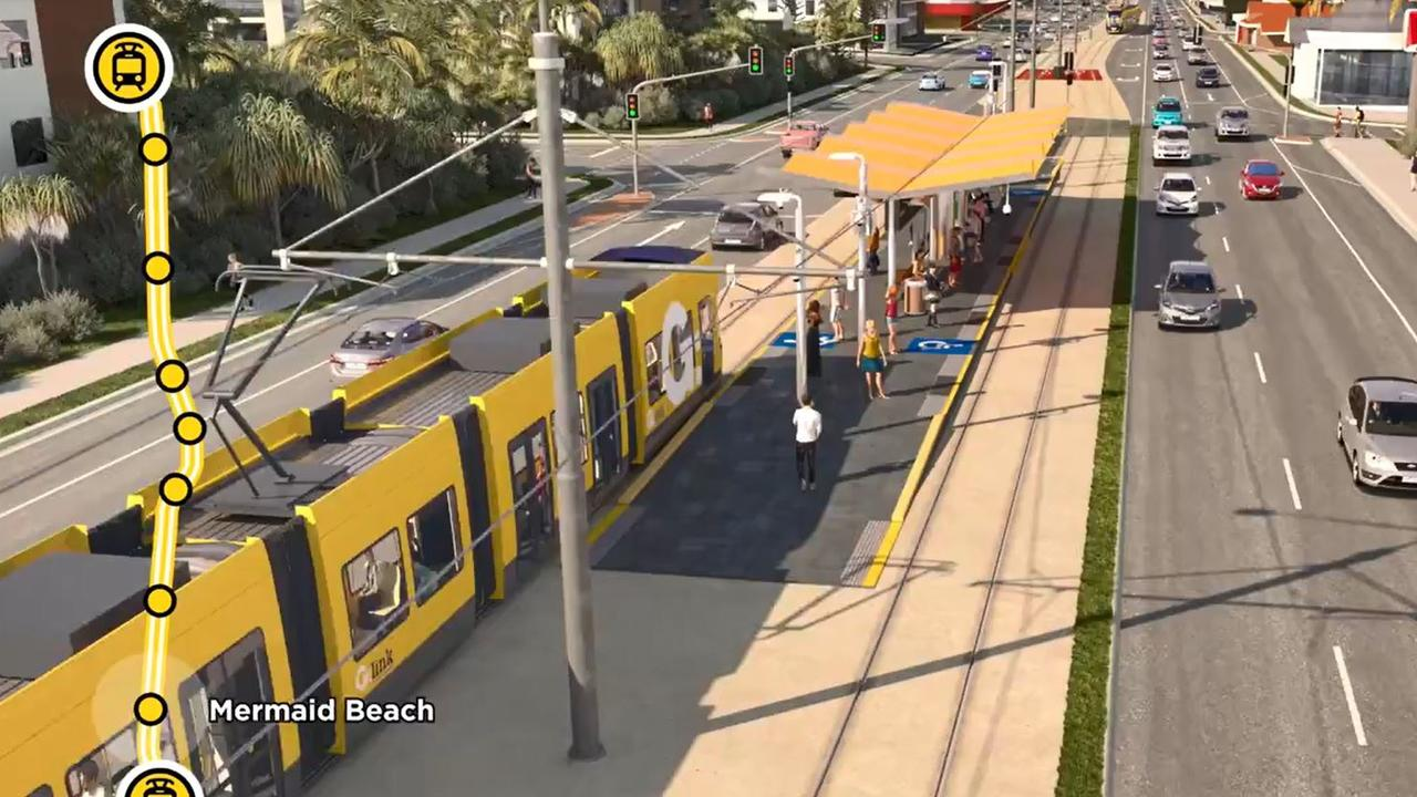 The tram stop at Mermaid Beach.