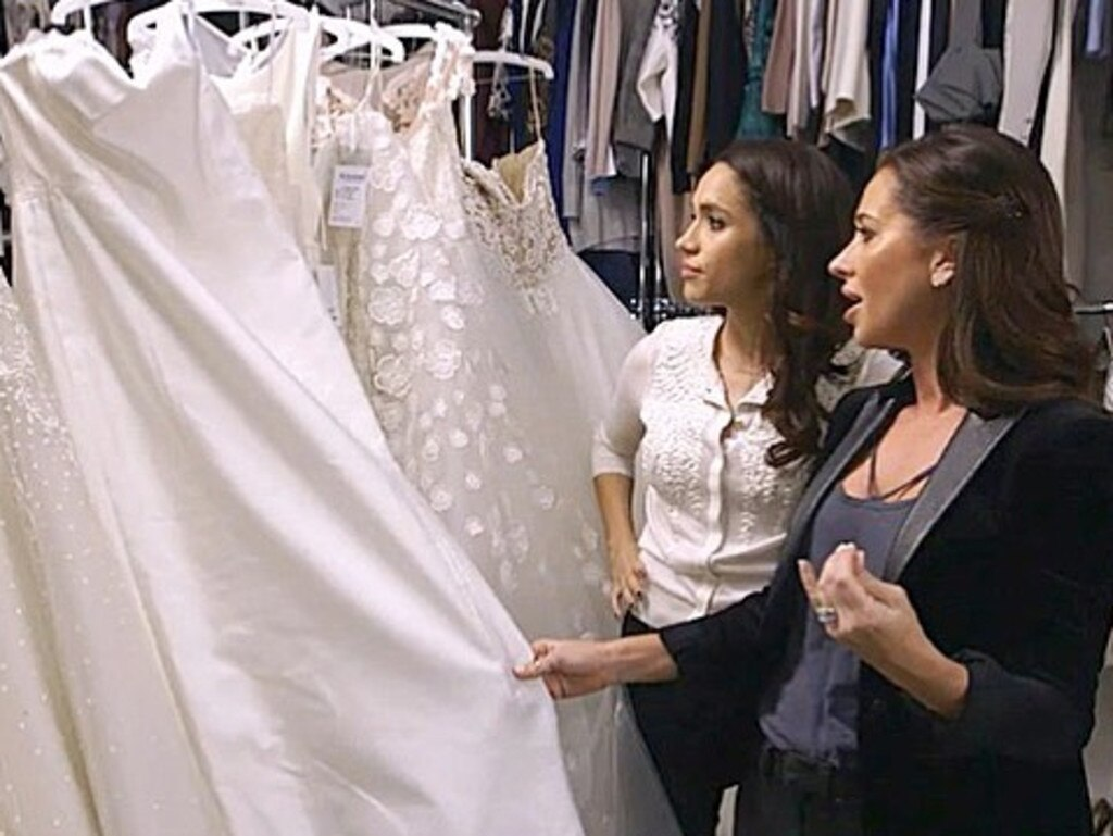 Meghan Markle and Jessica Mulroney looking through wedding dresses backstage on the set of Suits. Picture: Instagram.com/jessicamulroney