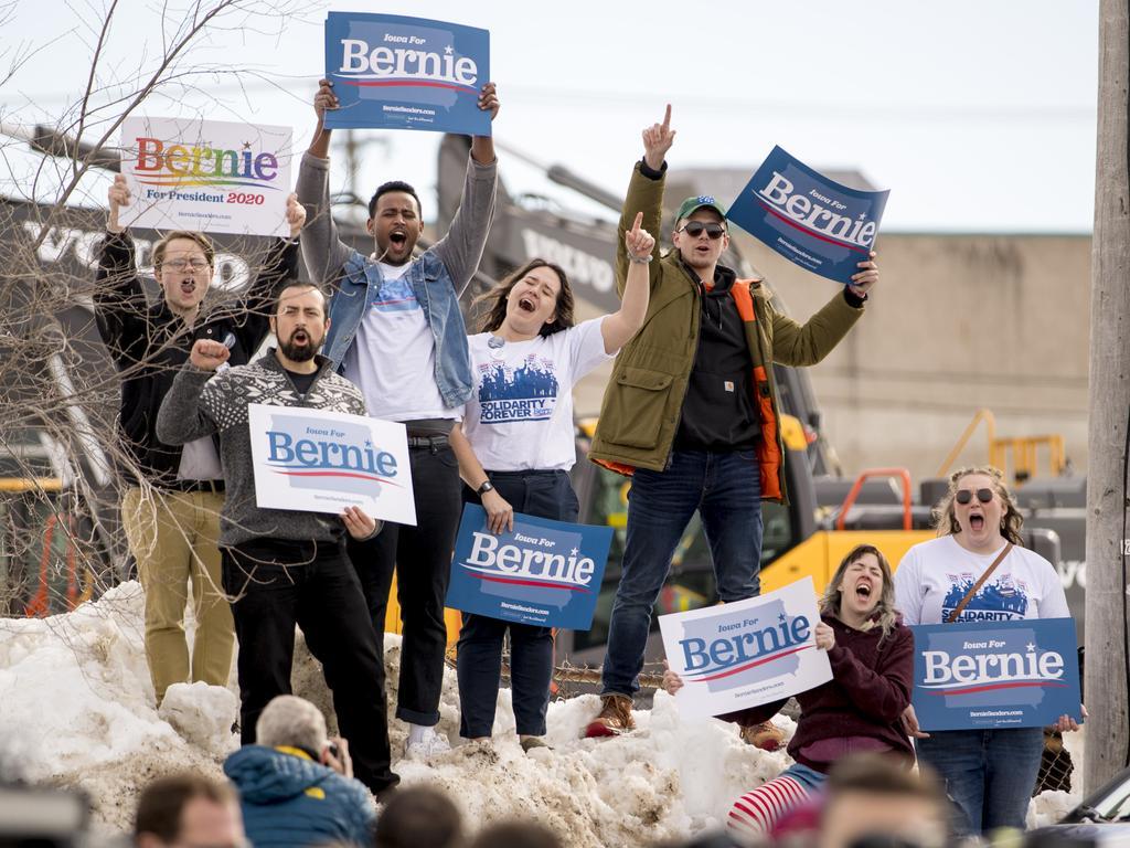 Democratic presidential candidate Bernie Sanders supporters in Cedar Rapids, Iowa. Picture: Andrew Harnik