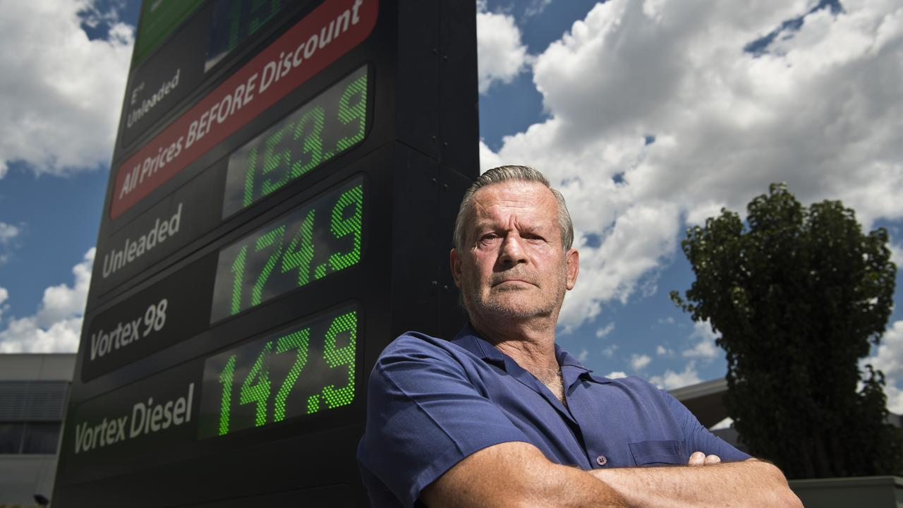 Peter Sims is angry about the petrol price cycle in Toowoomba, Monday, February 3, 2020. Picture: Kevin Farmer