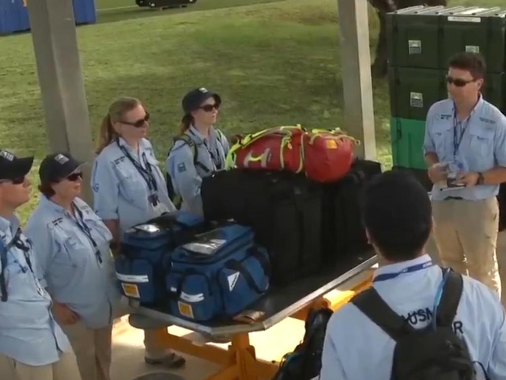 The team assisting with the evacuation of Australians from Wuhan to Australia. Picture: 7 News