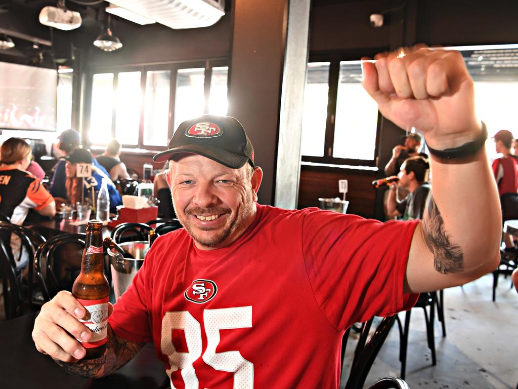 49ers fan Shannon Buckle cheers on his beloved team.