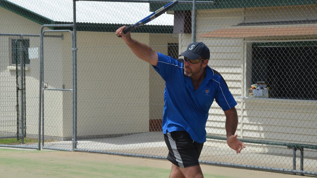 FULL FLIGHT: Gayndah's Ben Slack (pictured) plays from the baseline in a singles match. The club is looking to attract new players to join the Open Court Sessions initiative. Photo: Shirley Way.
