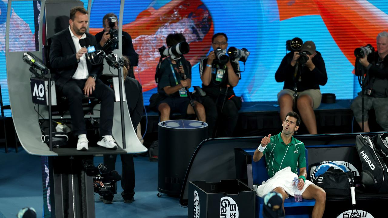 Novak Djokovic had a running battle with chair umpire Damien Dumusois. Picture: Clive Brunskill/Getty