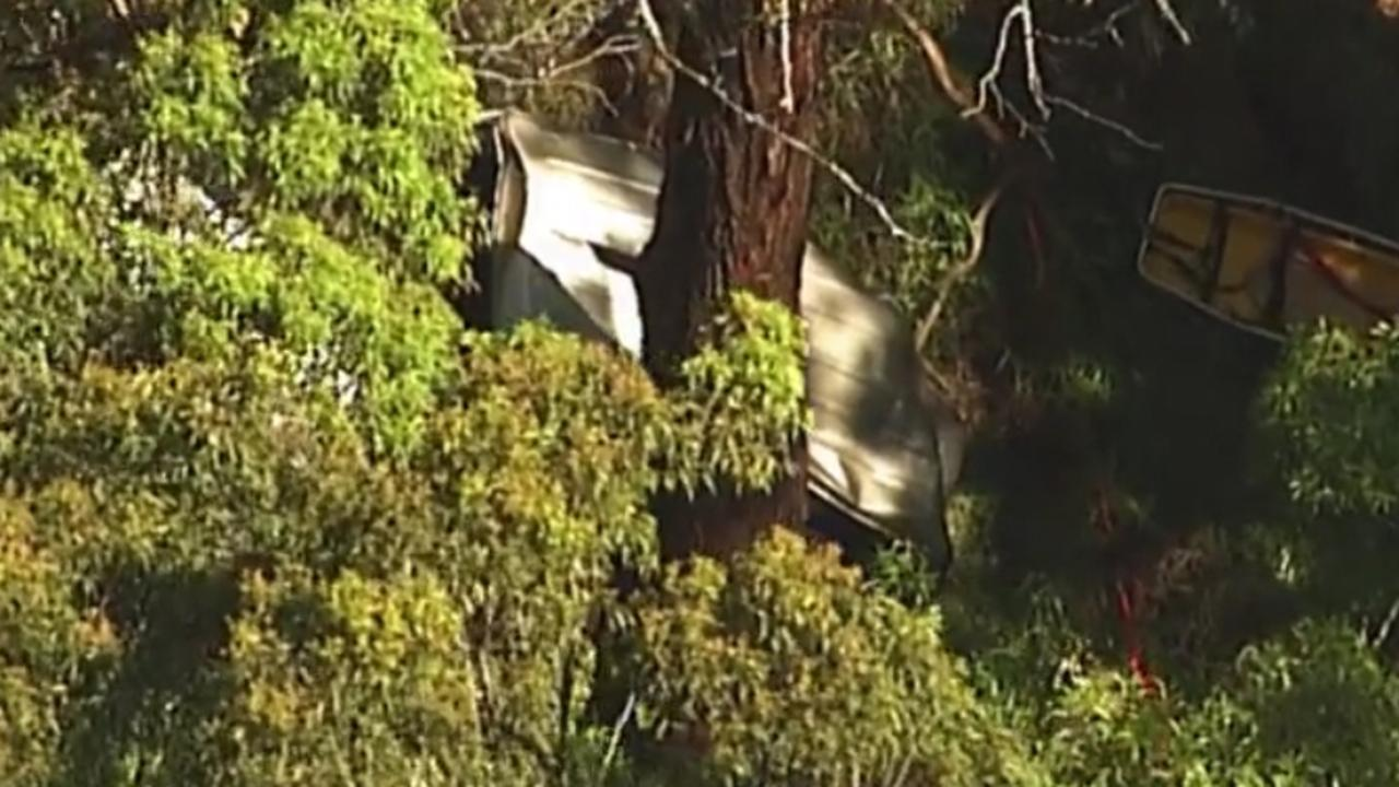 The smashed car pictured where it came to rest. Picture: Nine Gold Coast News.
