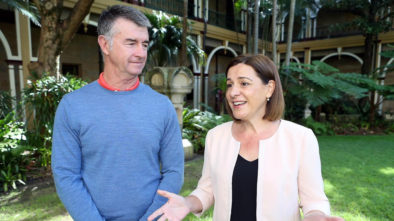 LNP Leader Deb Frecklington and Deputy Leader Tim Mander. Picture: AAP Image/Richard Gosling