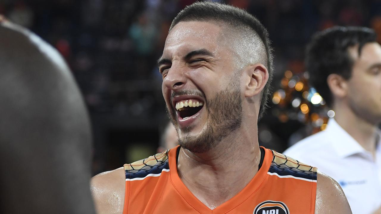 CAIRNS, AUSTRALIA – JANUARY 31: Mirko Djeric of the Taipans smiles after winning the round 18 NBL match between the Cairns Taipans and the Illawarra Hawks at the Cairns Convention Centre on January 31, 2020 in Cairns, Australia. (Photo by Ian Hitchcock/Getty Images)