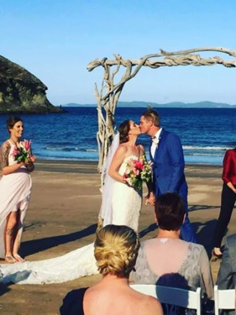 LOVELY BACKDROP: Simone and James Haley's wedding was at the Rosslyn Bay Resort.