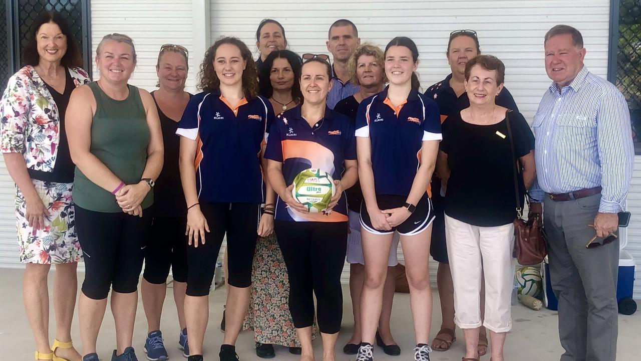 Councillor Jenny McKay and Councillor Greg Rogerson welcome Nambour and Districts Netball Association back to Woombye, officially opening the new clubhouse and courts
