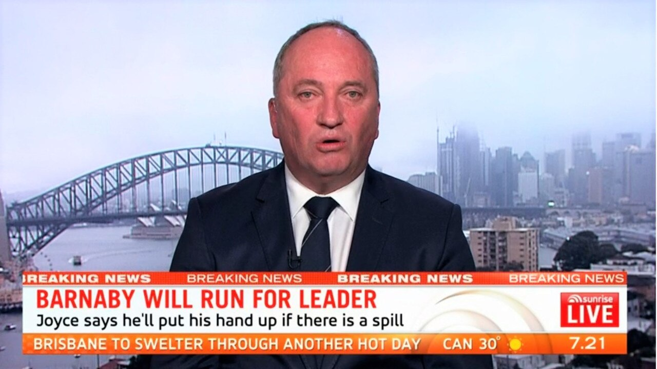 Barnaby Joyce on Sunrise this morning. Picture: Seven
