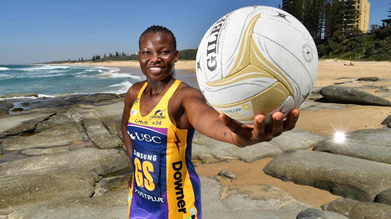 Peace Proscovia of the Sunshine Coast Lightning. Photo: AAP Image/Darren England