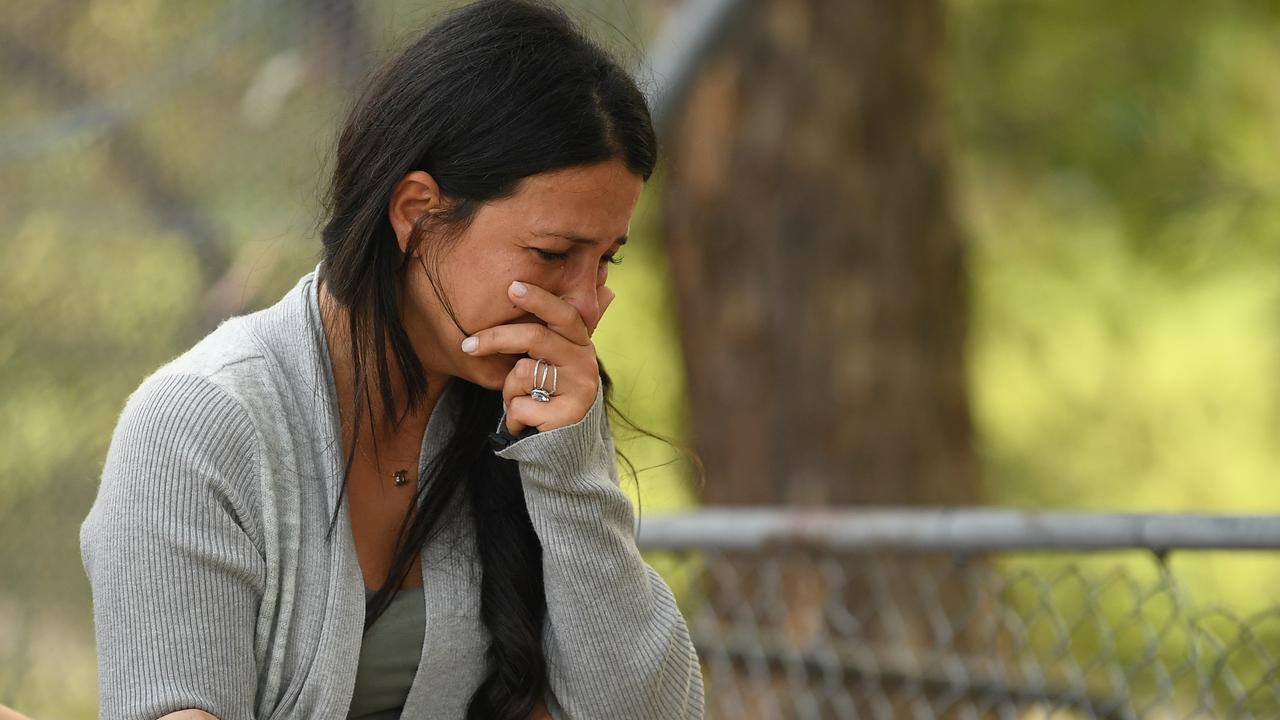 The victims' mother Leila Geagea came to look at flowers placed at the scene of the crash. Picture: AAP Image/Joel Carrett