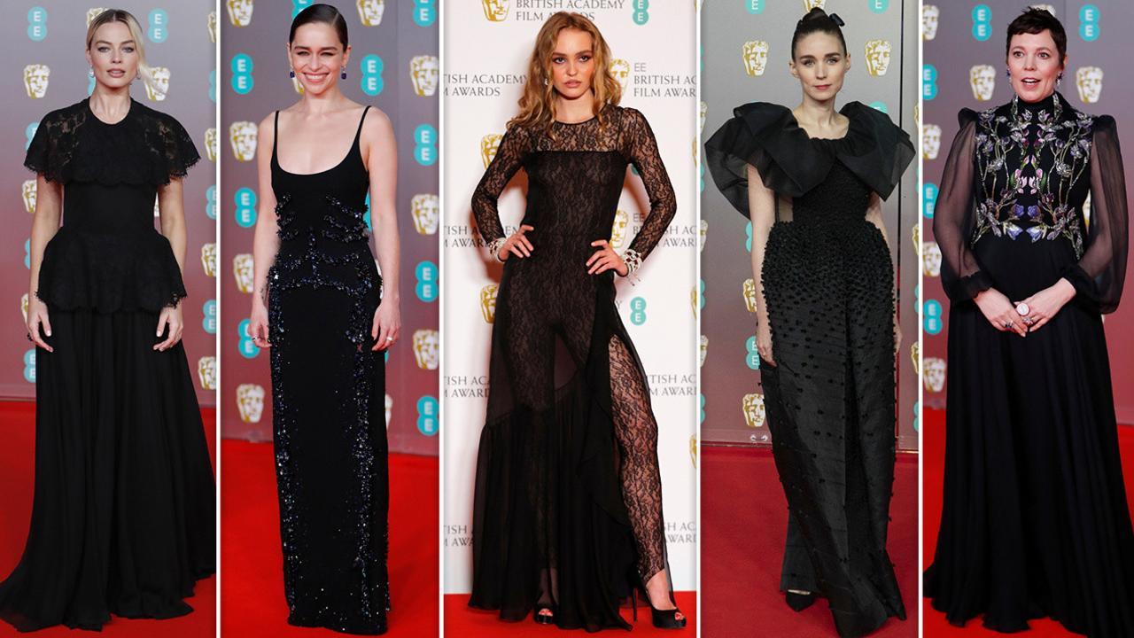 L-R: Margot Robbie, Emilia Clarke, Lily-Rose Depp, Rooney Mara and Olivia Colman. Pictures: AFP/AP