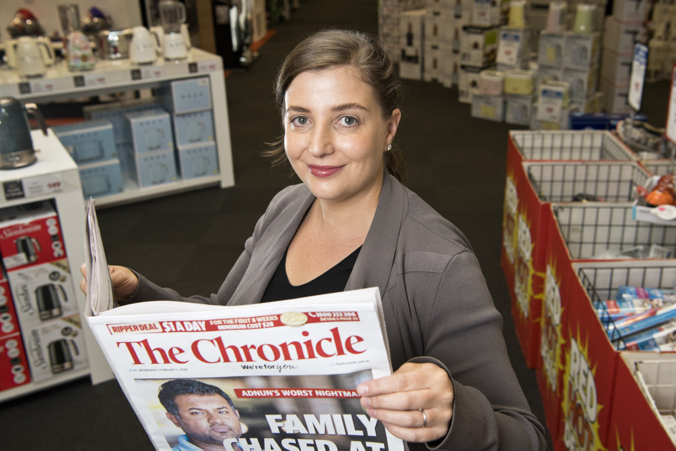 Harvey Norman Toowoomba electrical proprietor Cara Sherman is excited to see the new compact format of The Chronicle.