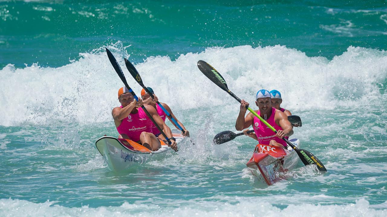 Cudgen Headland's Scott Mc Cartney and Chloe Jones power their way to victory in the mixed doubles ski over Walirra at the NSW SLSC Country Championships at Kingscliff over the weekend. Photo: CHRIS SEEN/Goesnapshot.com