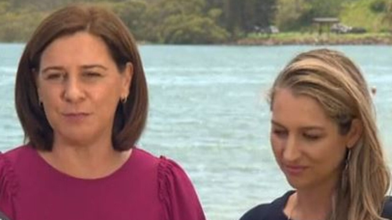 LNP Leader Deb Frecklington and candidate for the seat of Currumbin Laura Gerber. Picture: Nine Gold Coast News.