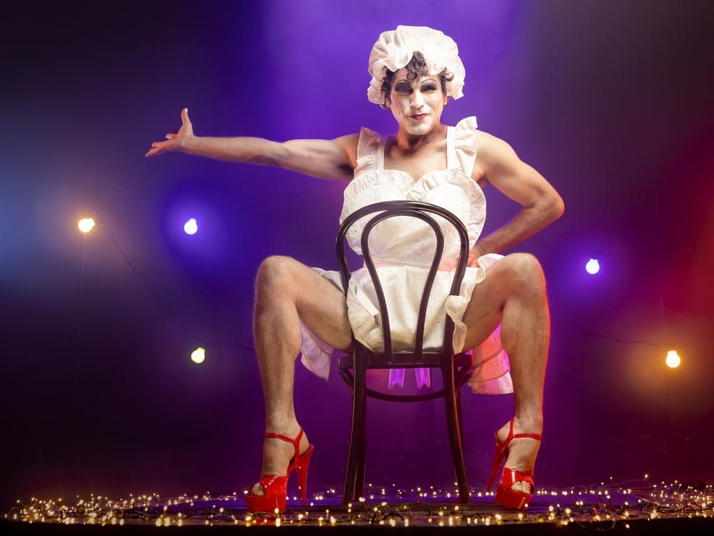 Josh Quong Tart in costume for the Sydney Festival show Betty Blokk-Buster Reimagined. Pictures: Daniel Linnet