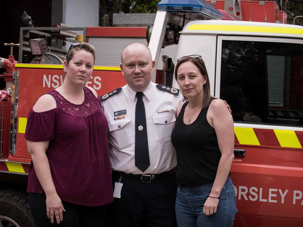 From left, Jess Hayes, partner of Geoffrey Keaton with RFS Commissioner Shane Fitzsimmons and Melissa O'Dwyer, wife of Andrew O'Dwyer. Picture: Flavio Brancaleone