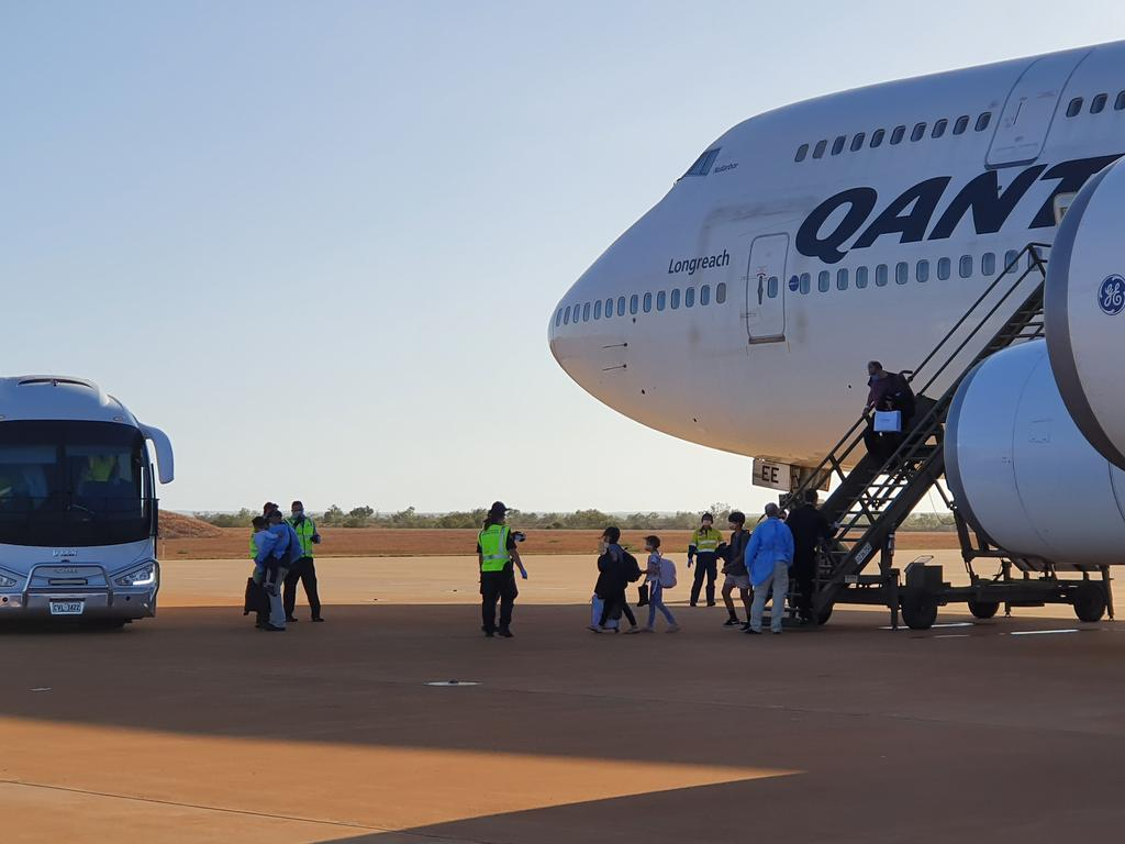 The Qantas flight that arrived in Australia at RAAF Base Learmonth.