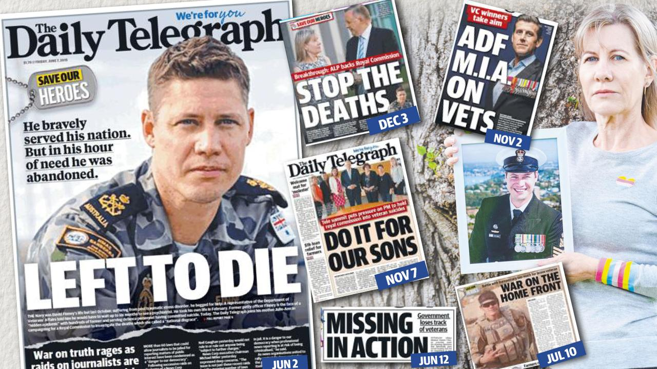 The Daily Telegraph Save Our Heroes campaign resulted in a national veteran suicide summit and kept the topic of a Royal Commission in the public domain. Julie-Ann Finney (far right) and her son Dave (left).