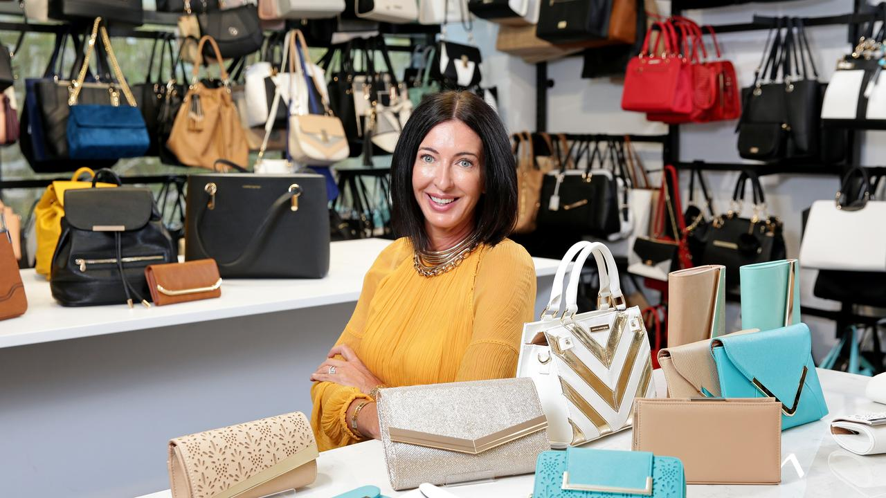 Colette Hayman, pictured in 2016 with her range of designer handbags. Picture: Troy Snook.