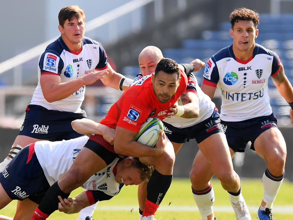 The Sunwolves' Ben Te'o takes on the Rebels defence on Saturday. Picture: Getty Images