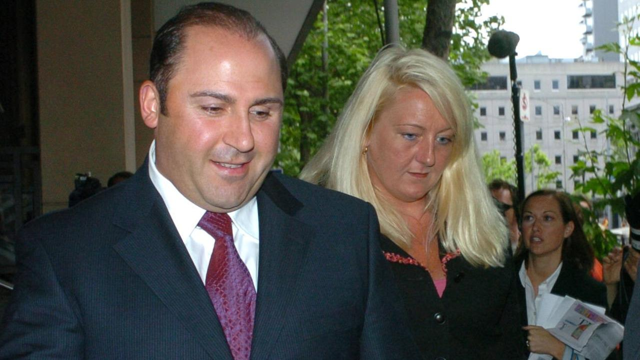 Tony Mokbel with his lawyer, Nicola Gobbo, outside Melbourne Magistrates' Court.
